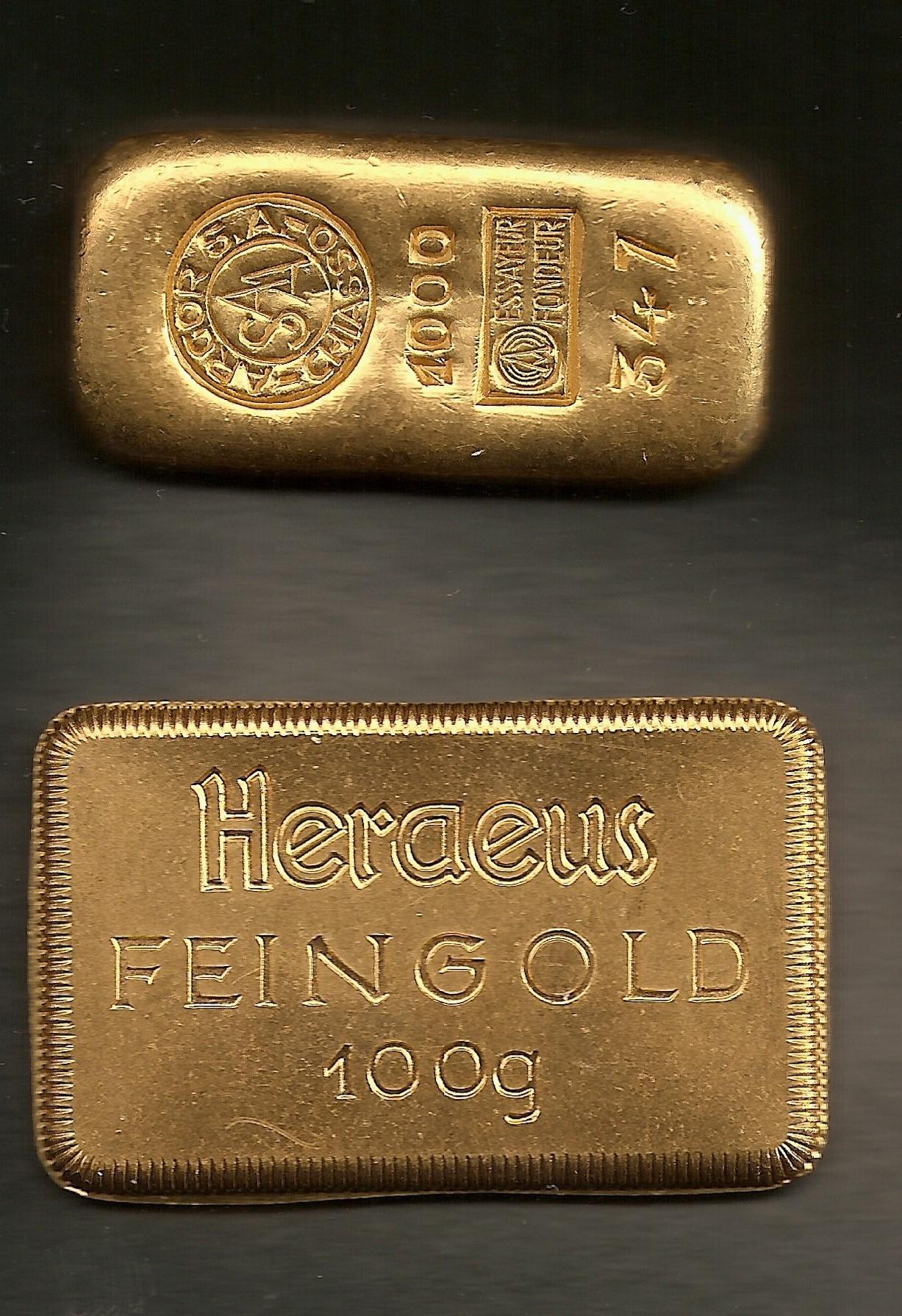 Heraeus Goldbarren